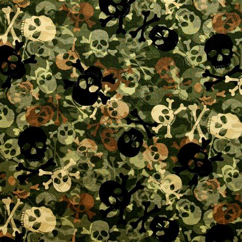 Ty Pennington by Timeless Treasures Camouflage Camo Skulls Army Green Fabric Emerald City Fabrics