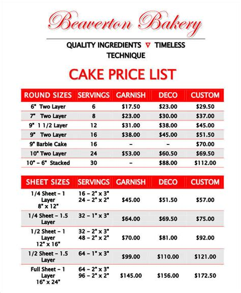 cake price list template 19 price list sles in pdf