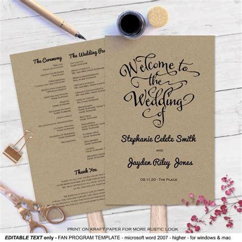 Diy Wedding Program Fans Template
