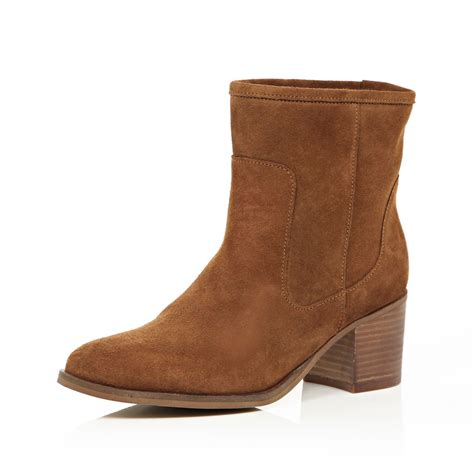river island brown suede heeled ankle boots in brown