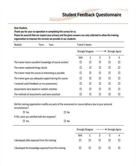 student satisfaction questionnaire template amazing questionnaire templates ideas resume ideas