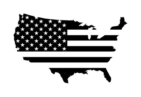 united states of america outline with usa flag