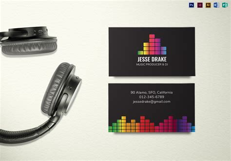 producer business card template producer and dj business card template in psd word