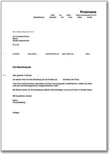 Musterbriefe Absage Bewerbung Absage An Einen Bewerber Ohne Vorstellungsgespr 228 Ch De Musterbrief