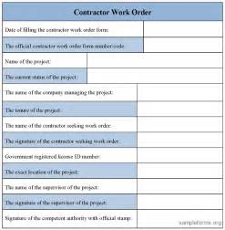 work order form template sle work order form images