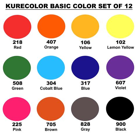 basic color zig kurecolor ink basic colors set of 12