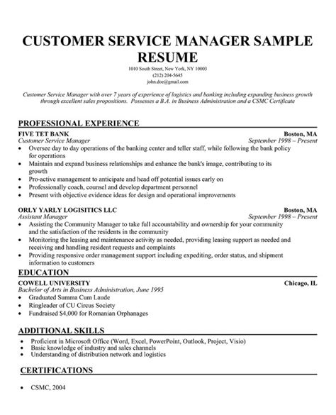 customer support manager resume sle