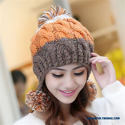 Handmade Knit Hats - cheap sweet winter wool cap handmade knitted hat ear