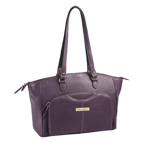 Shopping Clarks Crushed Leather Tote by 15 6 Quot Alder Leather Handbag Purple Clark Mayfield