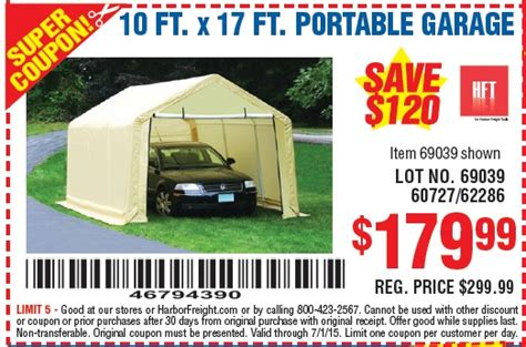10 X 17 Portable Garage by Harbor Freight Free Item Coupon 2016 2017 Best Cars Review