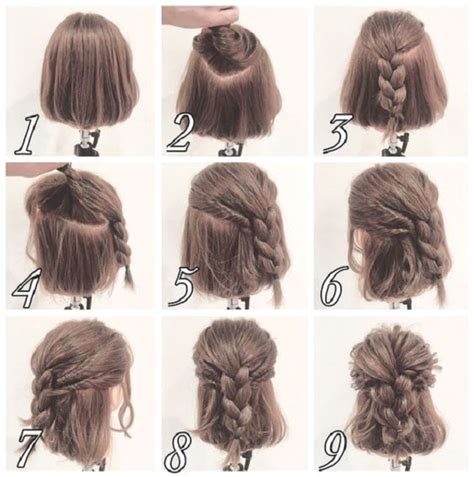 ponytail bob cut instructions messy half up braid hairstyle for short hair makeup mania