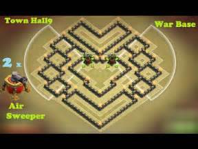 Clash of clans town hall 9 th9 war base with 2 air sweepers anti