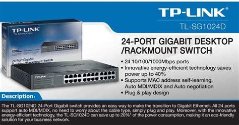 Tplink 24 Port Gigabit Desktop Rackmount Switch Tl Sg1024d tp link tl sg1024d 24 port gigabit desktop rackmount switch 24x ports 10 100 1000mbps rj 45