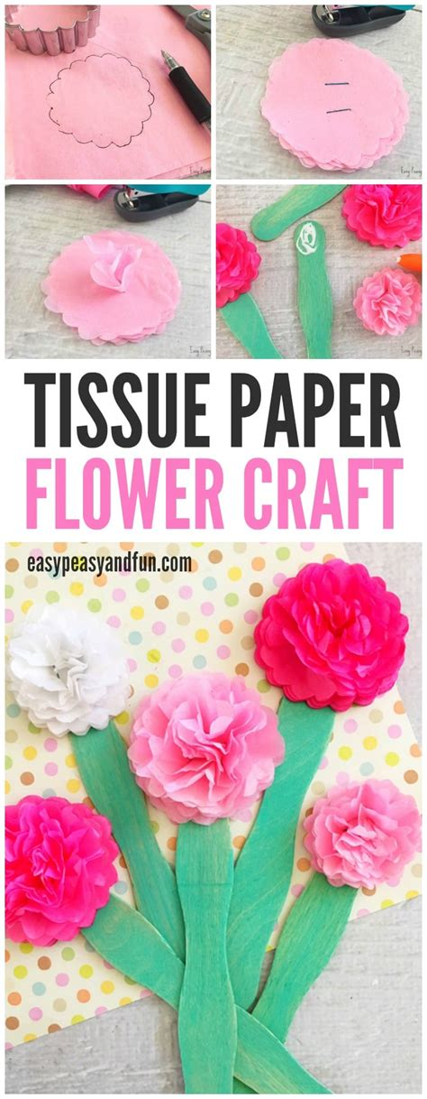 How To Make Tissue Paper Crafts - tissue paper flower craft easy peasy and