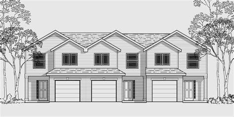 3 Family House Plans triplex multi family plan 3 bedroom 1 car garage