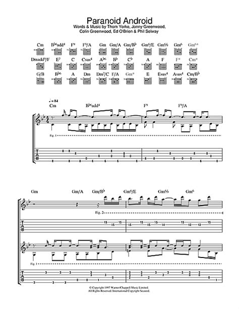 paranoid android chords paranoid android tablature guitare par radiohead tablature guitare 32781