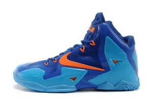 Lebron james xi mens basketball shoes blue orange china supply n7612