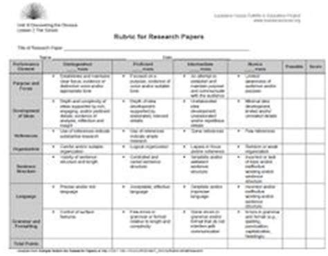 Rubric For Research Paper 5th Grade by History Research Paper Rubric