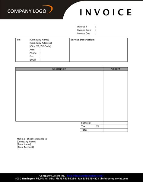 blank invoice template exle masir