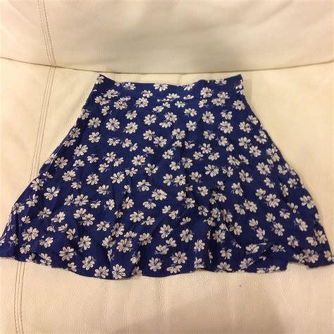 vintage vintage blue floral high waisted skater skirt