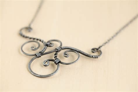 Handmade Wire Necklaces - trio handmade wire wrapped spirals necklace hammered