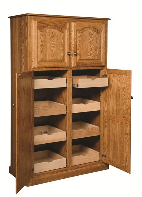 oak kitchen pantry storage cabinet shown in oak