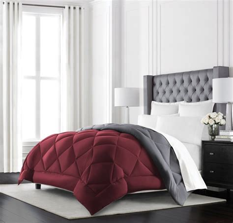 Syari Set Grey Maroon burgundy bedspreads and burgundy comforter sets at luxcomfybedding