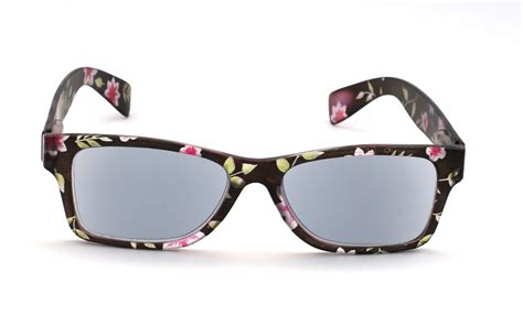 sunreaders black with pink floral pattern oval