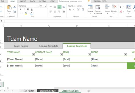 Sports Roster And Schedule Template For Excel Team Calendar Template