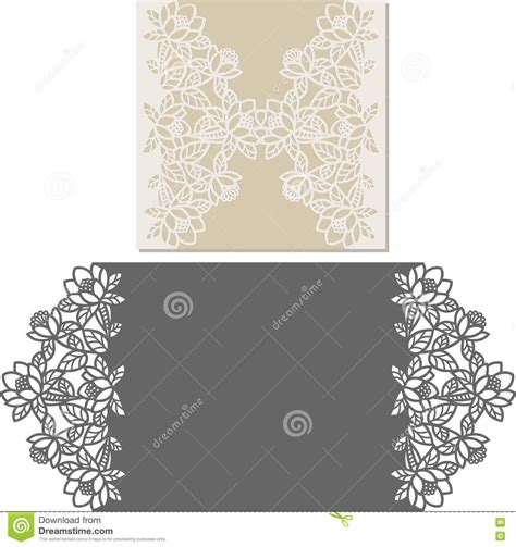 Laser Cut Envelope Template For Invitation Wedding Card Stock Vector Illustration Of Pattern Laser Cut Wedding Invitations Templates