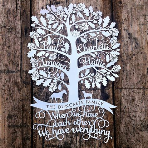 paper cut family tree template personalised family tree papercut template gift