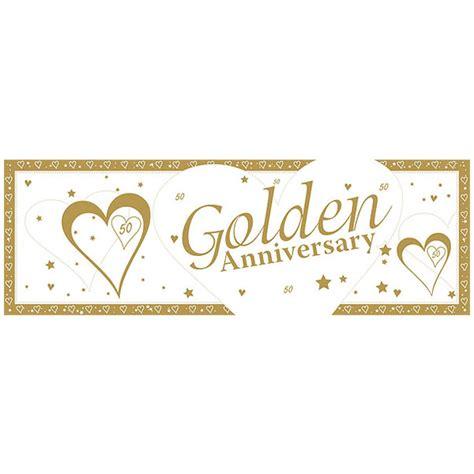 Golden Wedding Banner by Golden Anniversary Banner Plastic Balloons Co Uk