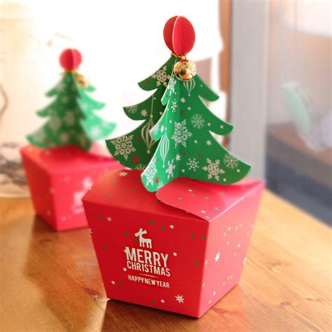 pcslot merry christmas tree gift box cookie cholocate food paper box christmas favor boxes