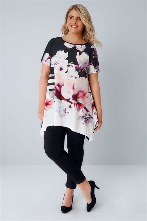 div placement black floral print slinky jersey top with hanky hem plus