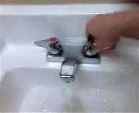 Bathroom Sink Faucet Keeps Turning Plumbing Demonstraton Turning Sink Water On And