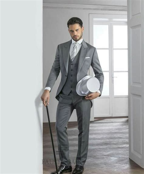 Groomsmans Light Grey With Top Hat Wedding Suit Idea's For