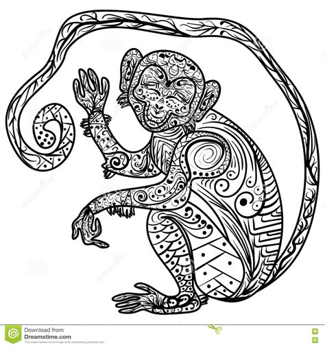 how to draw a doodle monkey zentangle vector doodle ornate monkey