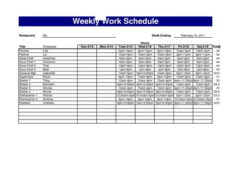 Restaurant Work Schedule Template best photos of 4 week work schedule template weekly employee schedule template free weekly