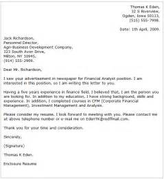 Financial Editor Cover Letter by Analyst Cover Letter Exles Cover Letter Now