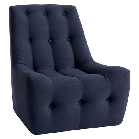 navy linen modern slipper chair pbteen
