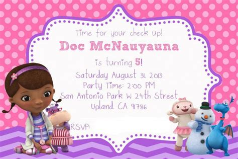 doc mcstuffins party invitations doc mcstuffins party