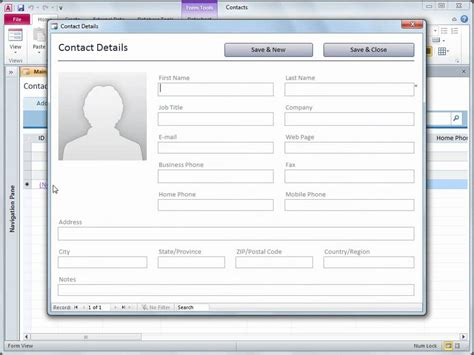 free database template access 2010 use the contacts web database template