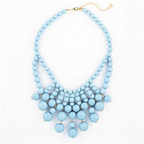 light blue statement necklace retro bauble necklace blue statement bib necklace with