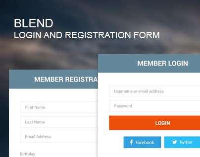 behance login blend login and registration form on behance