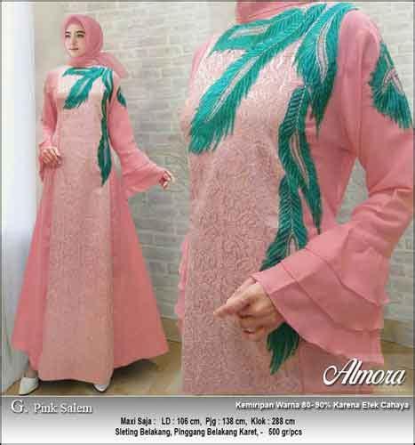 Gamis Pink Salem supplier baju gamis pesta syar i bahan jacquard