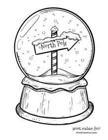 snow globe coloring page snow globe with pole sign coloring page