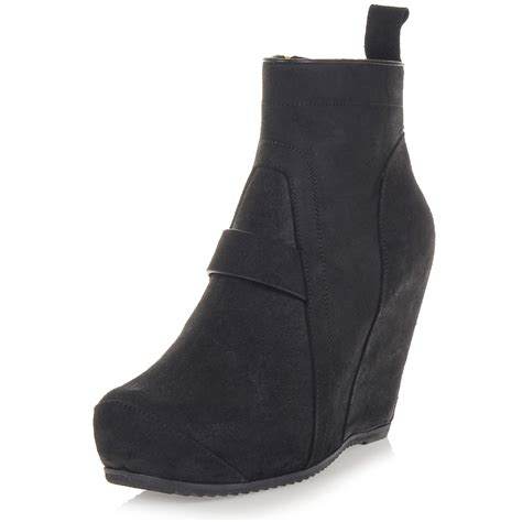 rick owens quot s wedge quot leather ankle boots spence