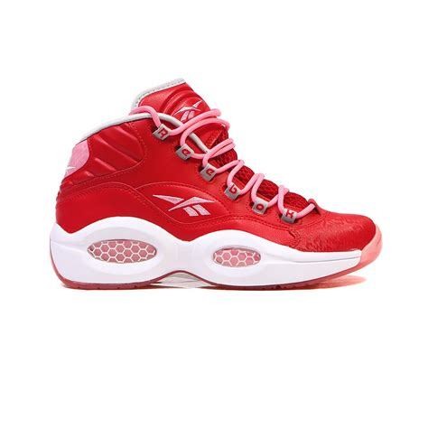 light pink and white shoes reebok question mid grade scarlet light pink white