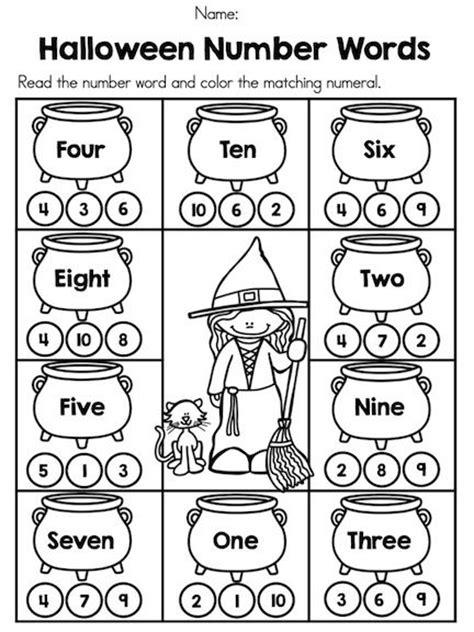 halloween kindergarten math worksheets number words