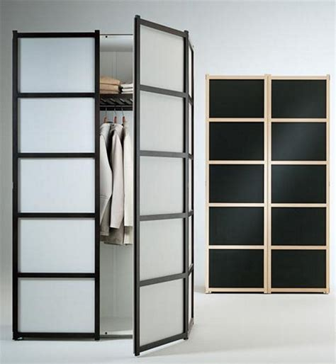 Small Closet Design With Frosted Glass Bifold Doors And